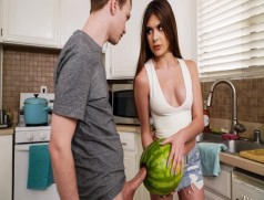 StepSister Caught her Brother Masturbating with a Watermelon